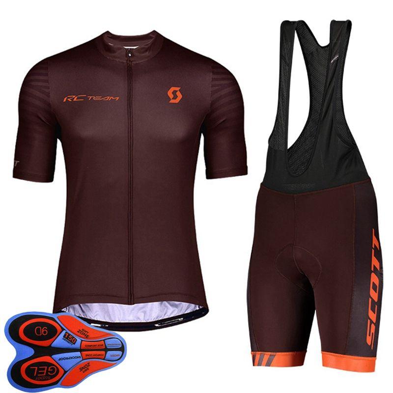 2021 Verano Scott Team Mens Cycling Jersey Jersey Camisa de manga corta Camisa de babero Pantalones de babero Conjuntos Ropa de carreras de secado rápido Tamaño XXS-6XL Y21041040