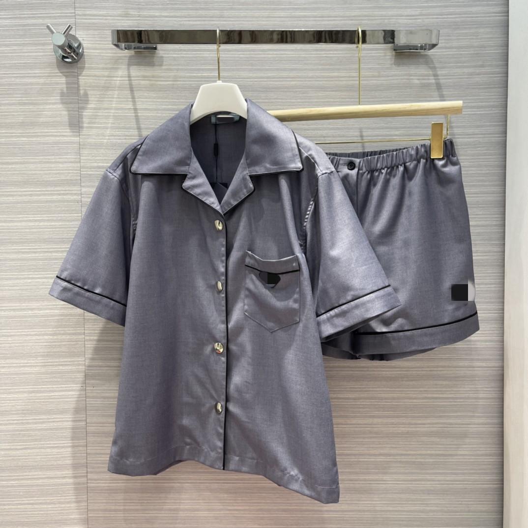 2021 kadın İki Parçalı Pantolon Yaka Boyun Kısa Kollu Panelli Mont Marka Aynı Stil Tasarımcı Milan Pist Setleri 0619-8