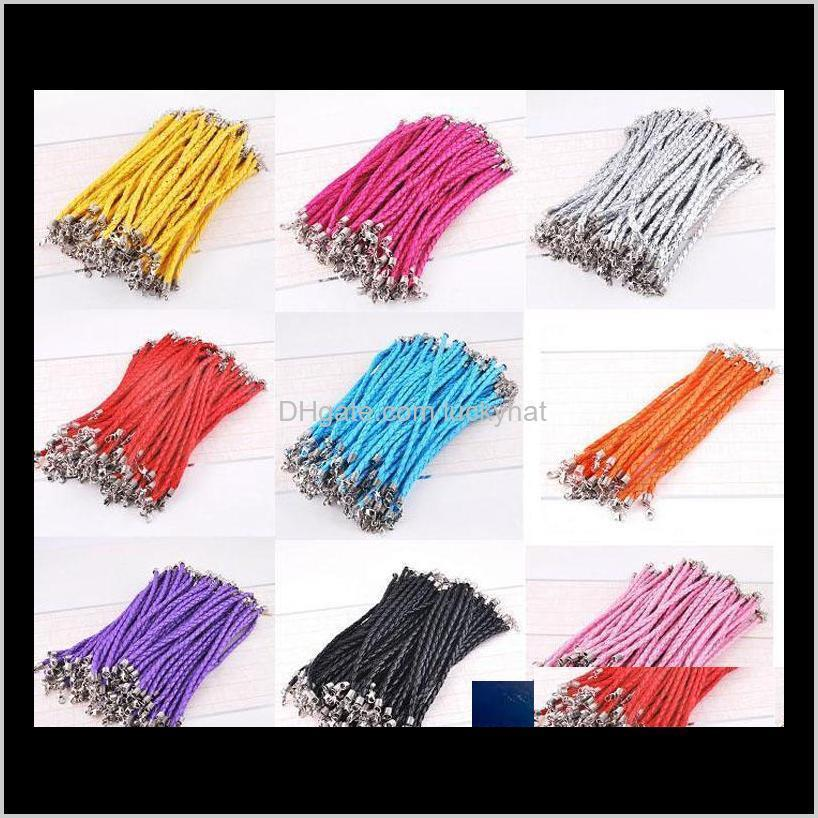 100Pcslot 205Cm Pu Leather Braided Charm Chain Bracelets Love For Diy Jewelry Bead Lobster Clasp Link Chains Reozn Cord Wire Miw90