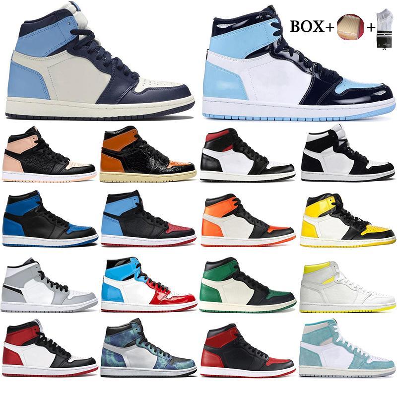 مع صندوق 2021 رجل 1 عالية og أحذية كرة السلة 1s الجامعة المحظورة Blue Chameleon Top 3 UNC Orange Sports Sneakers EUR 36-46