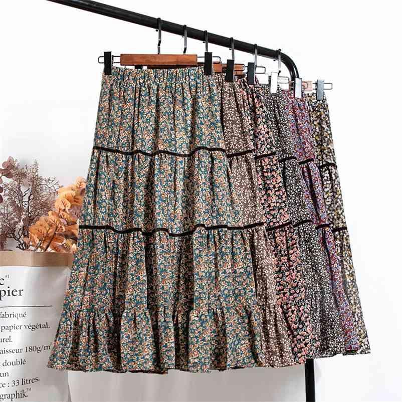 Koreanischer Stil Frühling Blumendruck A-Line Lange Boho Röcke Elastische Taille Absatz Patchwork Falten Röcke 210412