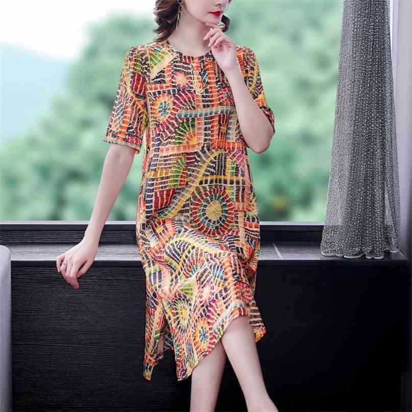 Frauen Boho drucken Maulbeer-Seide Vintage Midi-Kleider Sommer Casual 4XL plus Größe Blumenkleid Elegante Bodycon-Party Vestidos 210603