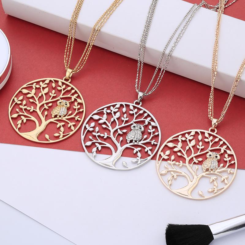 Moda Linda vida de árbol CRISTAL OWL colgante collar para las mujeres vintage plata oro plateado cadena multicapa collares largos joyería regalo de Navidad