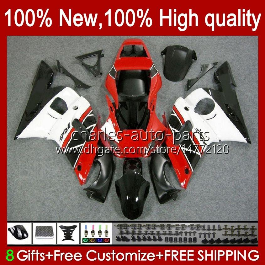 Bodys für Yamaha YZF-600 YZF R6 R6 R 6 600cc YZFR6 1998 1999 00 01 02 Körperarbeit 1NO.10 YZF 600 CC Cowling YZF-R6 98-02 YZF600 98 99 2000 2001 2002 ABS-Verkleidungsset rot weiß BLK