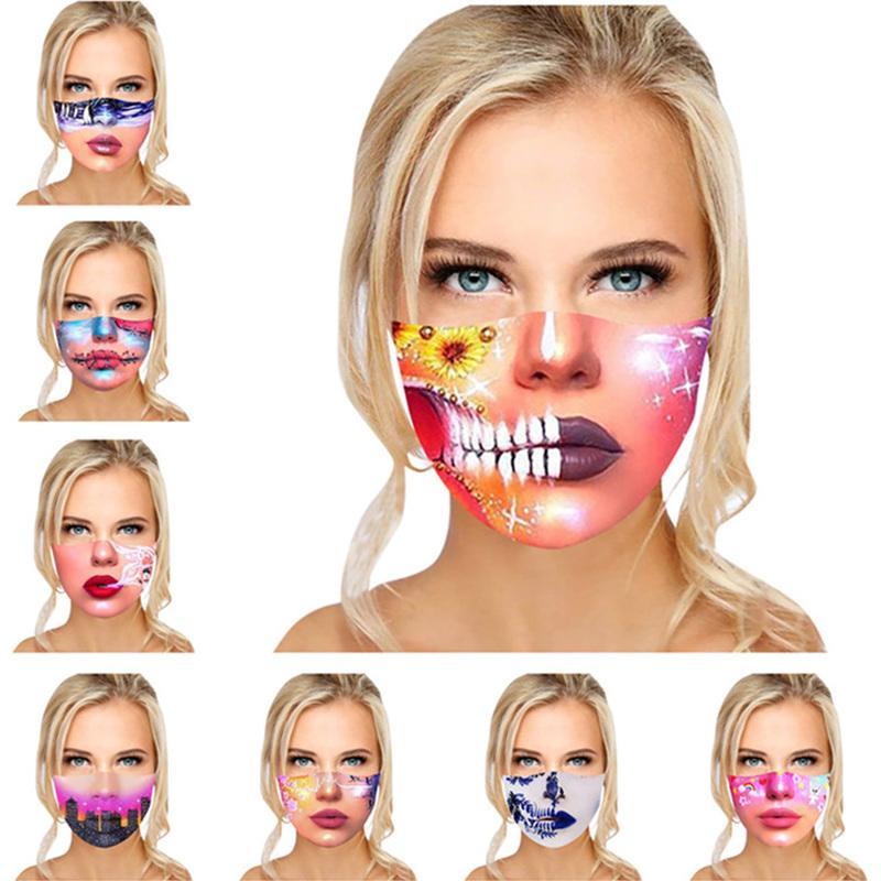 3D Druck Designer Gesichtsmasken Frauen Mädchen Lustiger Ausdruck Gedruckt Staubdichter Anti-Nebel Gesichtsmaske Baumwolle Waschbare haltbare Mode Mundabdeckung