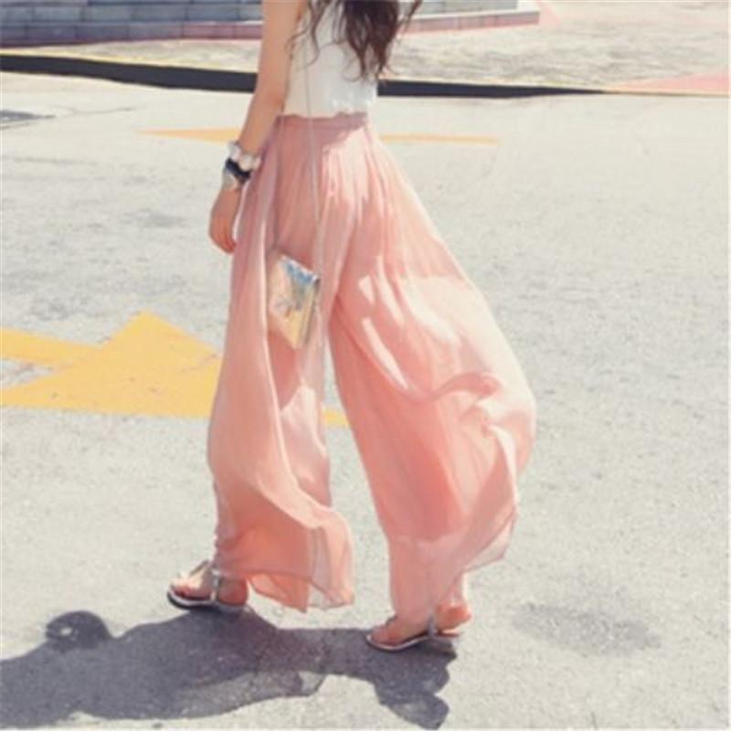 المرأة السراويل capris البوهيمي عارضة الساق واسعة الوردي الأسود الفضفاضة النساء فضفاضة عالية الخصر الشيفون الصيف بلون السيدات بوهو