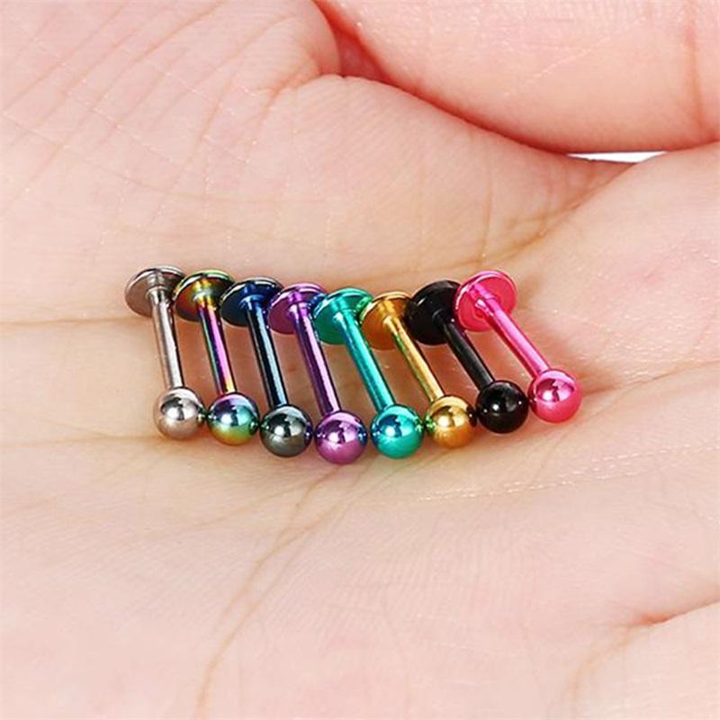 10 adet Top Titanyum Paslanmaz Çelik Labret Dudak Saplama Çene Kaş Burun Saplama Yüzük Bar Tragus Piercing Vücut Takı 668 T2