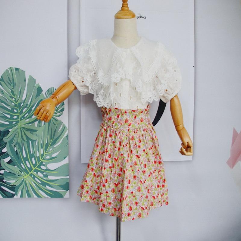 의류 세트 도매 여름 소녀 의상 레이스 칼라 흰 셔츠 + 꽃 치마 2 피스 아이 옷 여자 여자 E120 1rc5