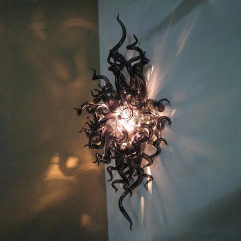 Mão soprada lâmpadas de parede de vidro murano sconce com lâmpadas LED casa restaurante arte decoração preta iluminação 24x36 polegadas