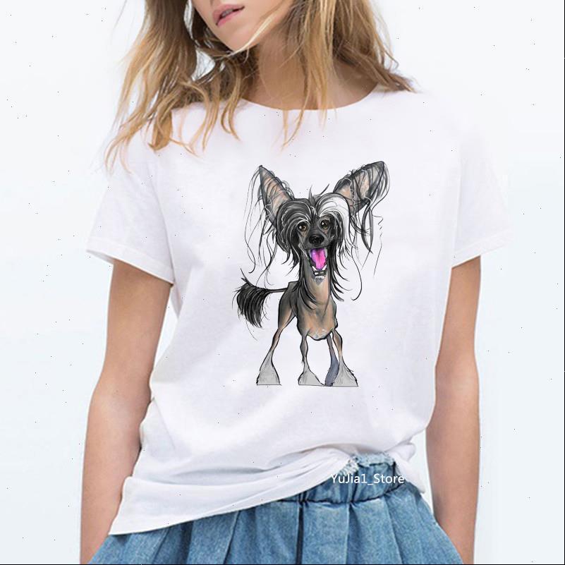 Vintage Cartoon Hund gedruckt Liebhaber Frauen T Shirts Freunde Weiße Sommerkleidung