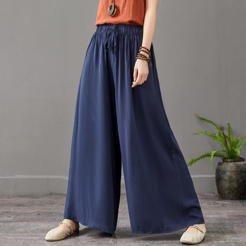 Summer sottile vita alta donna pantalone larga gamba di marca confortevole gonne cool pantaloni plus size 6xl 7xl
