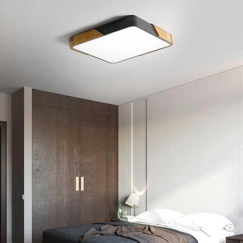 LED 천장 조명 현대 노르딕 라운드 램프 나무 홈 거실 침실 학습 표면 장착 조명기구 원격 제어 조명