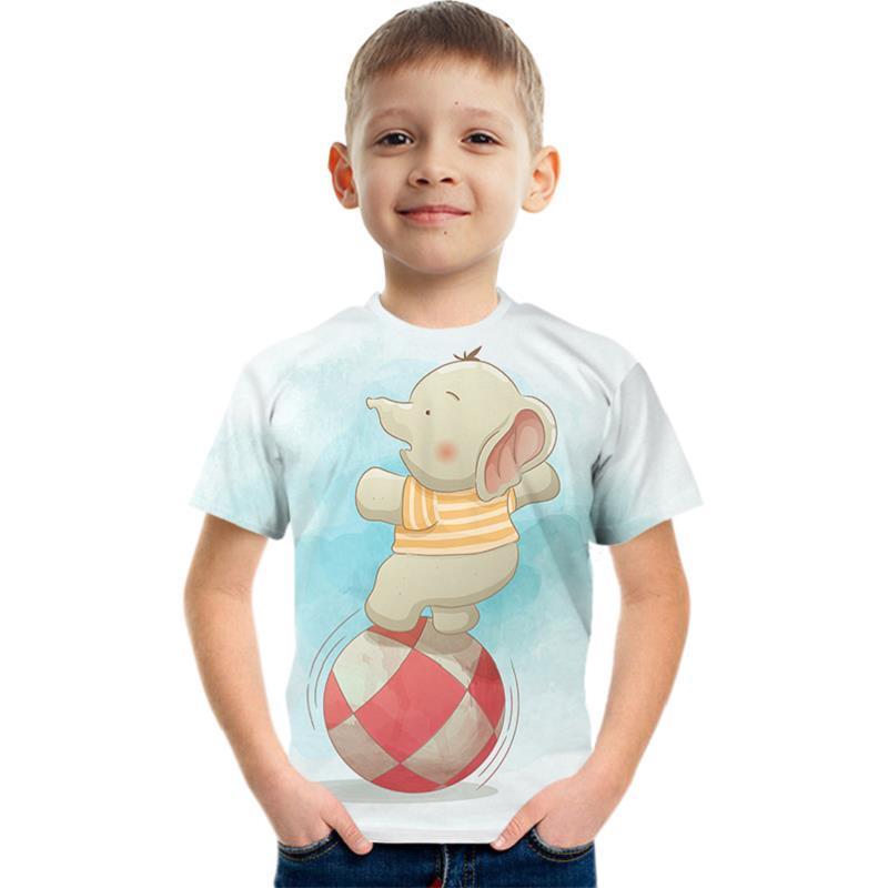 Baby Child's Boys' cartoon Elephant Tee T shirt 3D Print Short Sleeve Casual Tops Basic Designer Streetwear Exaggerated Tees