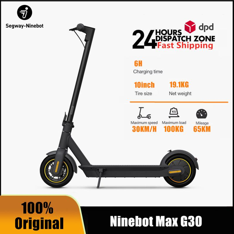 EU STOCK Original Ninebot by Segway MAX G30 Smart Electric Scooter foldable 65km Mileage KickScooter Dual Brake Skateboard G30P With APP Inclusive of VAT