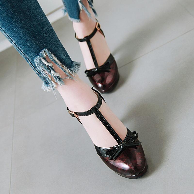 Sarairis عالية الكعب مضخات امرأة أحذية النساء t- حزام القوس جميل الحلو منصة لوليتا الكعب زائد الحجم 48 اللباس