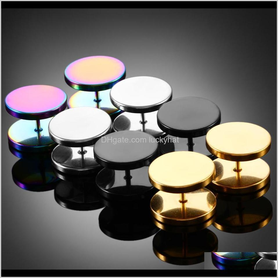 Eyebrow 2Pcs Gold Black Steel Cheater Faux Fake Ear Plugs Flesh Tunnel Gauges Tapers Stretcher Earrings Piercing Jewelry 614Mm S7Epe Fdtck