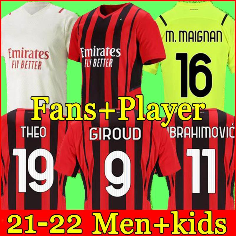 ميلان 21 22 كرة القدم جيرسي إبراهيموفيتش إبراهيم bennacer bennacer Kessie Romagnoli Calhanoglu 2021 2022 قميص كرة القدم Tonali Rebic Maillot Men + Kids Kit