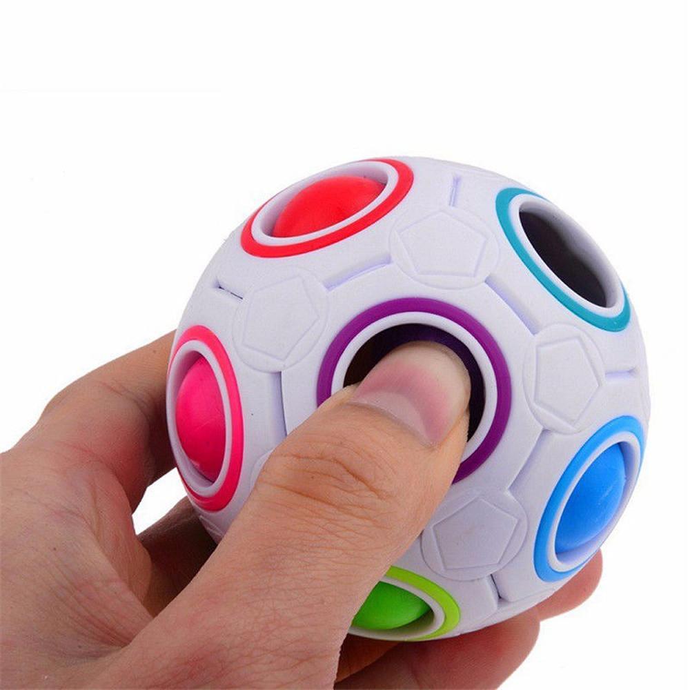 팝 무지개 마법 공 플라스틱 큐브 퍼즐 장난감 어린이 성인 안티 스트레스 압력 릴리버 보드 컨트롤러 교육 장난감