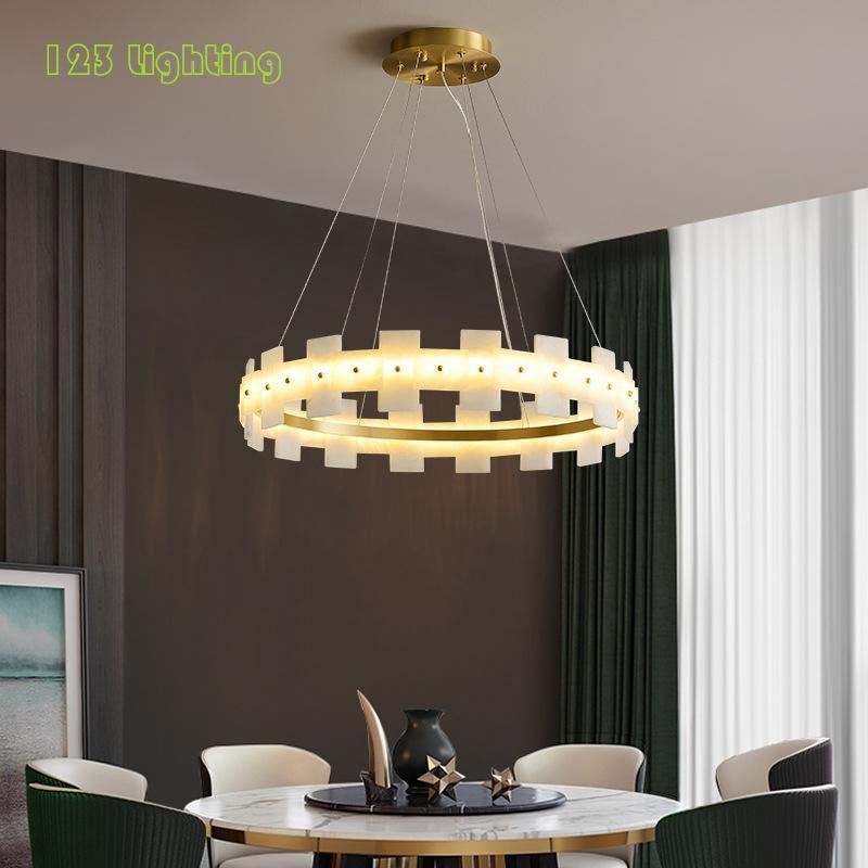 천연 대리석 LED 샹들리에 조명 로비 침실 레스토랑 전등 골드 금속 코드 조정 가능한 홈 장식