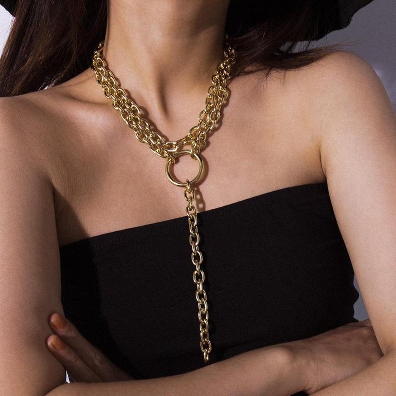 أوروبا والولايات المتحدة مجوهرات مجوهرات عبر الحدود هندسية Y على شكل سلسلة تيار سو قلادة البرية الطويل الأزياء الدائري حلقة