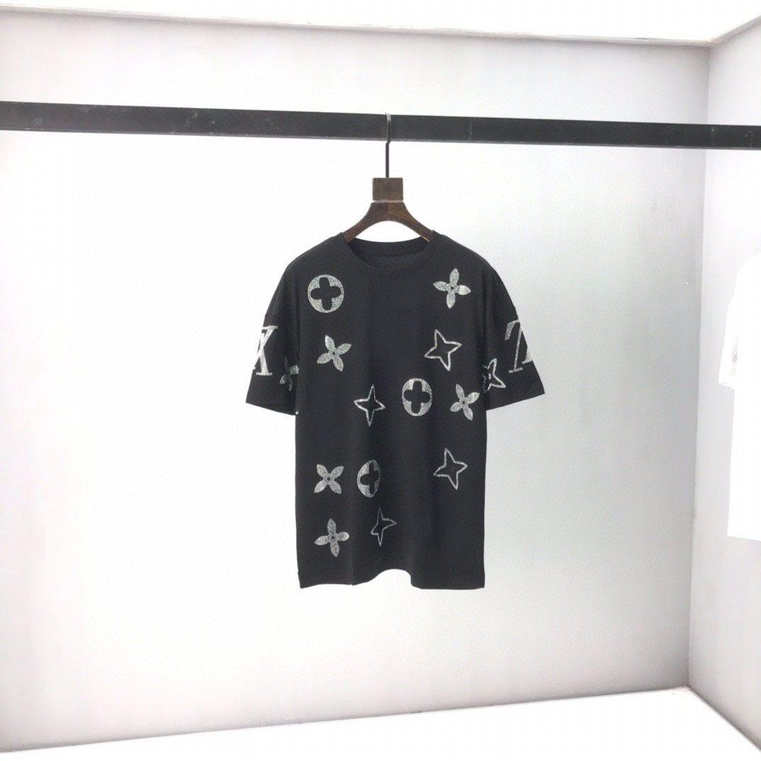 2021 Collo tondo Uomo Plus Tees Polos con stampa e ricamo in cotone, replica 100% di dimensioni europee HT617