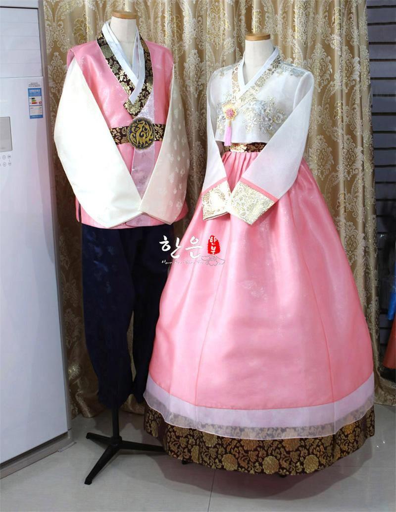 Koreanisch importiert Stoff / Braut Bräutigam Hochzeit Hanbok Paar Kleid Ethnische Kleidung