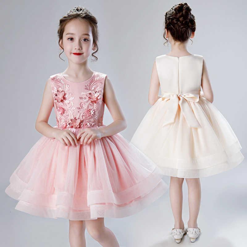 Kids Elegant Princess Costume for Wedding Girls Beautiful Flowers Embroidery Tutu Dress Vestido Elder Champagne 210529