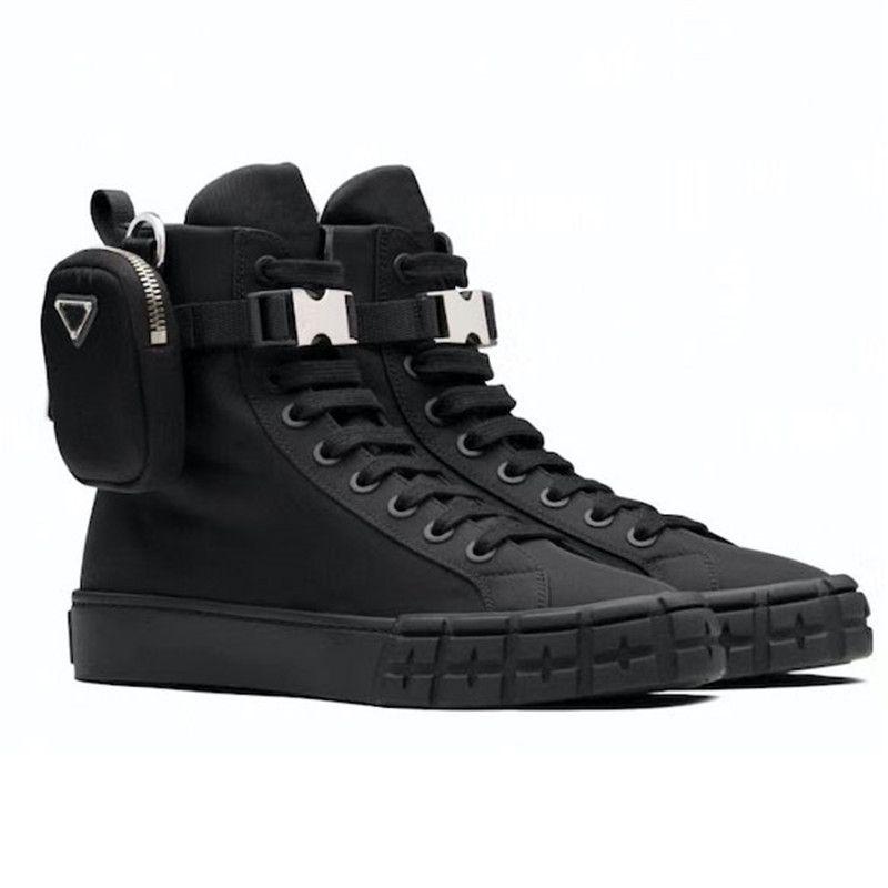 2021 عجلة مصممين أحذية عالية أعلى إعادة النايلون رياضة الرجال النساء منصة الأحذية القتالية المدربين المسطحة أبيض أسود مع حقيبة التمهيد الدانتيل يصل حذاء رياضة