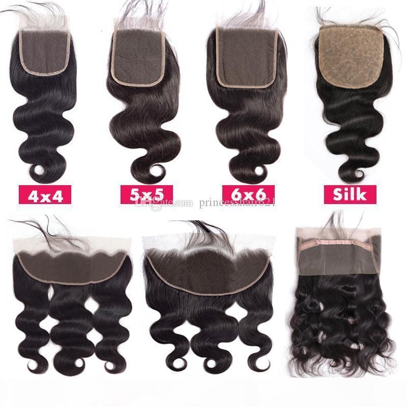 Top Lace Closure 4x4 5x5 6x6 13x4 13x6 360 frontal swiss lace hair piece Glamorous Brazilian Body Wave Human Hair Closure