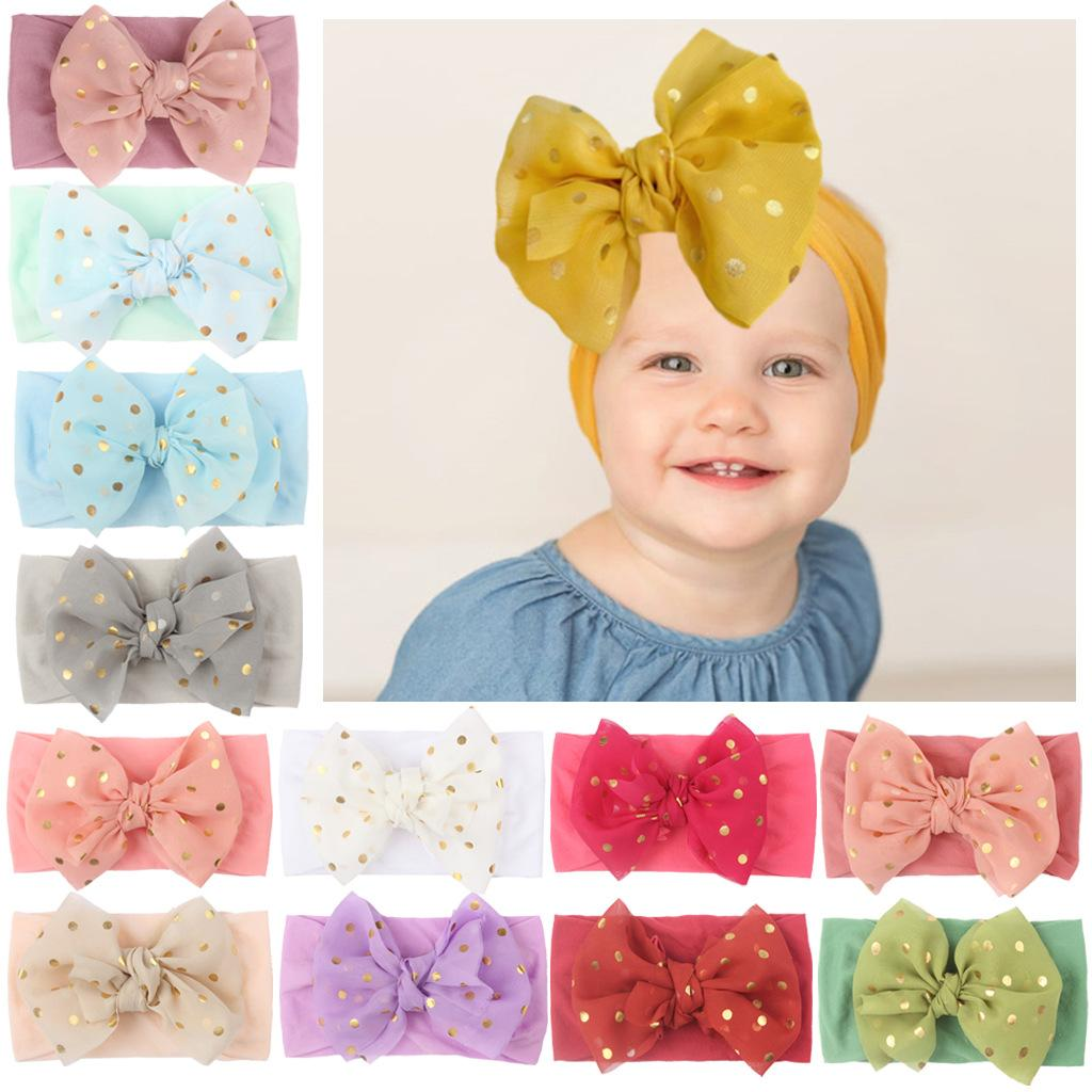 Free DHL Newborn Baby Boy Girl Printed Hair Bands Accessories Soft Elastic Turban Hairbands Infant Toddler Photography Props Kids