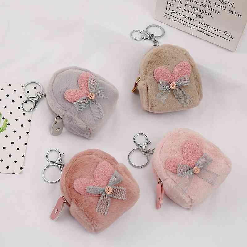 Borse Giapponese e coreano Peluche Zero Girl Heart Key Anello Stoccaggio Love Bow Coin