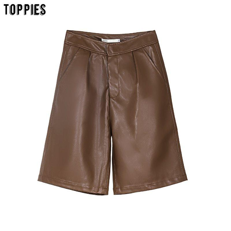 Shorts Toppies Faux Couro Mulheres Cintura alta Knee Comprimento Straight Streetwear Roupas