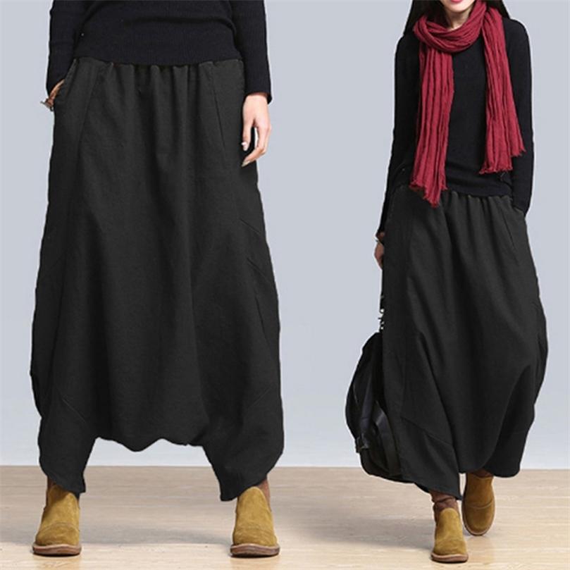 Women Casual Linen Harem Pants Baggy Bottoms Fashion Solid Low Crotch Female 210922