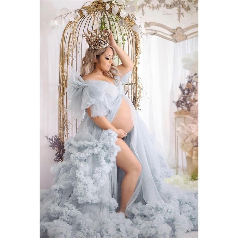 Wraps & Jackets Plus Size Maternity Night Robe Ruffles V Neck Split Short Sleeves Party Sleepwear Custom Made Floor Length Nightgowns Robes