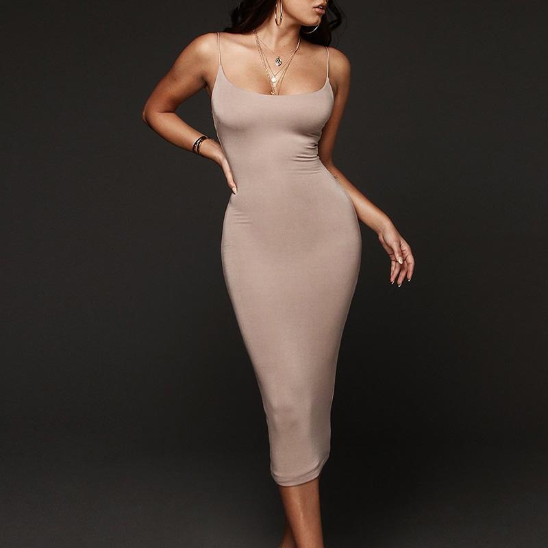 패션 여성 슬링 파티 드레스 슬림 업 Womens 민소매 솔리드 컬러 클럽 여름 드레스 Vestido de Mujer 캐주얼