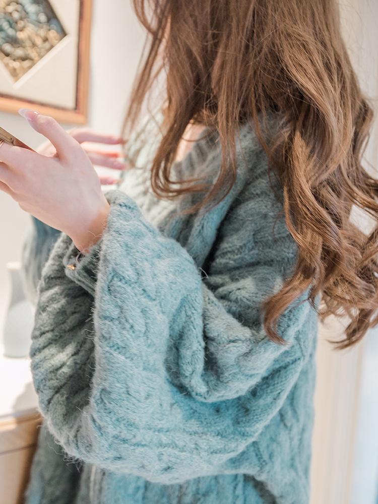 Corea del Sur importó otoño e invierno nuevo espesado suelto ocasional Long Light Light Ballets V-Colllar Size Knit Suéter