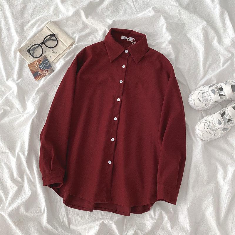 Design sense long sleeve shirt early autumn women's wear Korean version pure color niche loose medium length