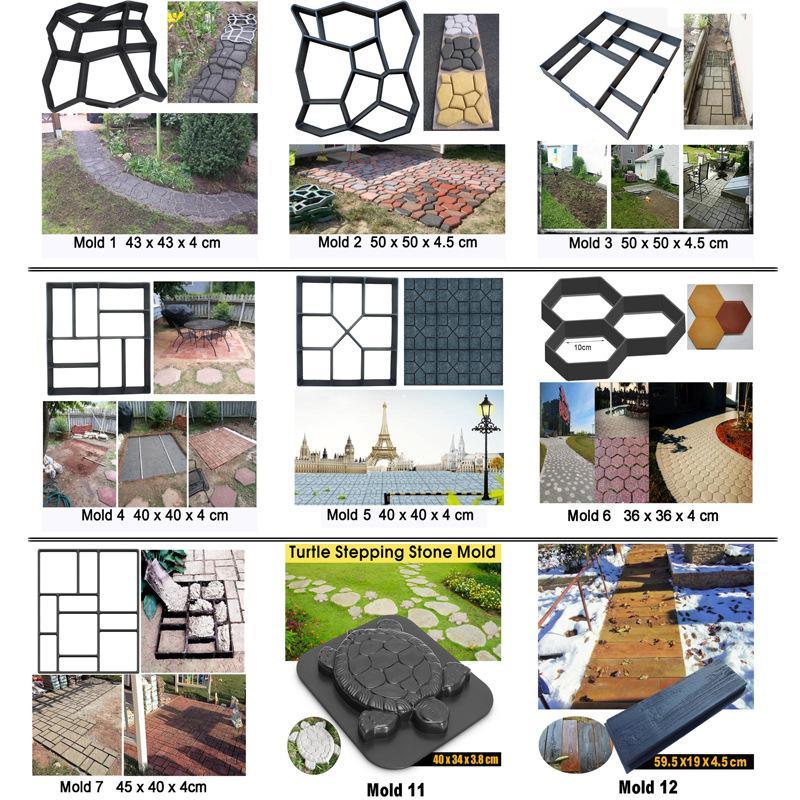 수동으로 포장 시멘트 벽돌 콘크리트 금형 재사용 가능한 DIY 플라스틱 경로 메이커 금형 정원 돌로 포장 금형 정원 장식 2134 v2