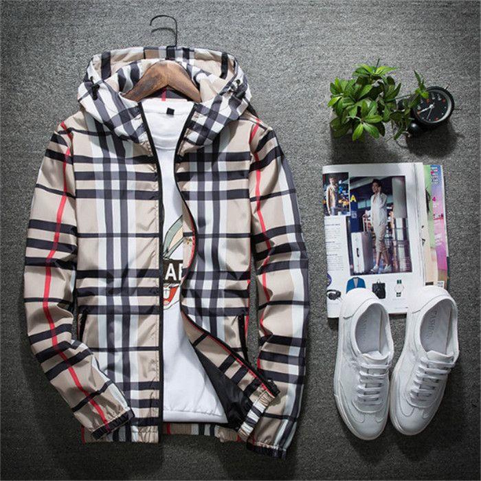 Yüksek kaliteli erkek ilkbahar ve sonbahar ceket Kore trendi ince kapüşonlu giysi joker erkekler ekose ceket