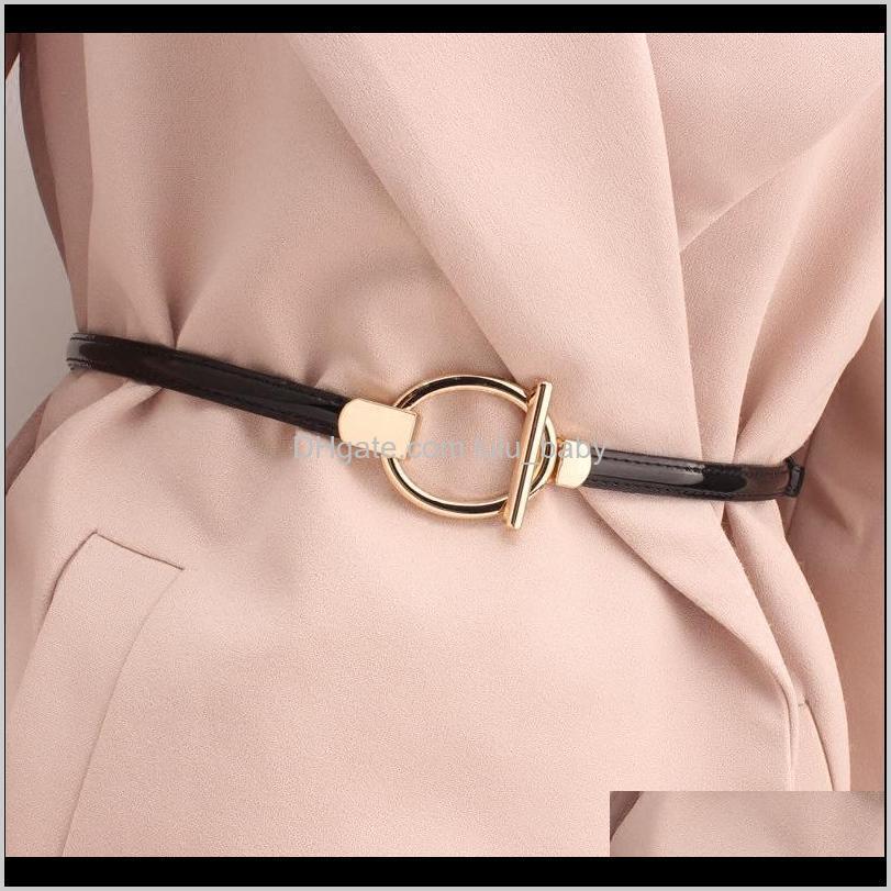 S1449 Vestido para mujer Suéter Decoración Cinturón de patente Fino Casual Faux cuero Cinturones Jm0ld IFMQY