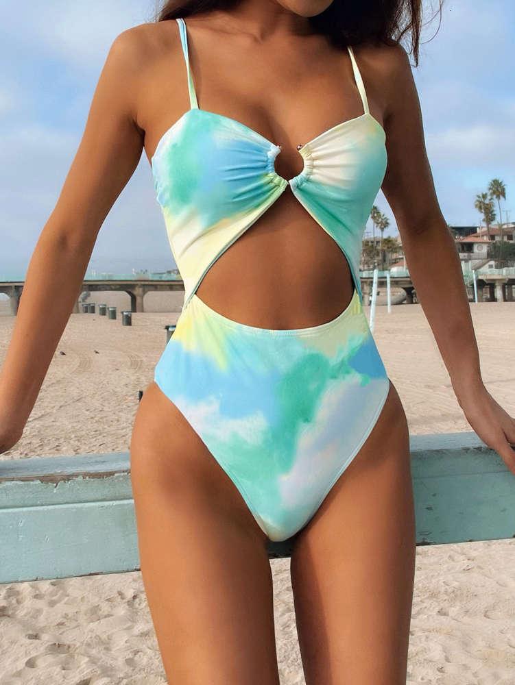 2021 Einteilige Frauen Plus Size Badeanzug Triangl Swimwear Beach Cover Kleider