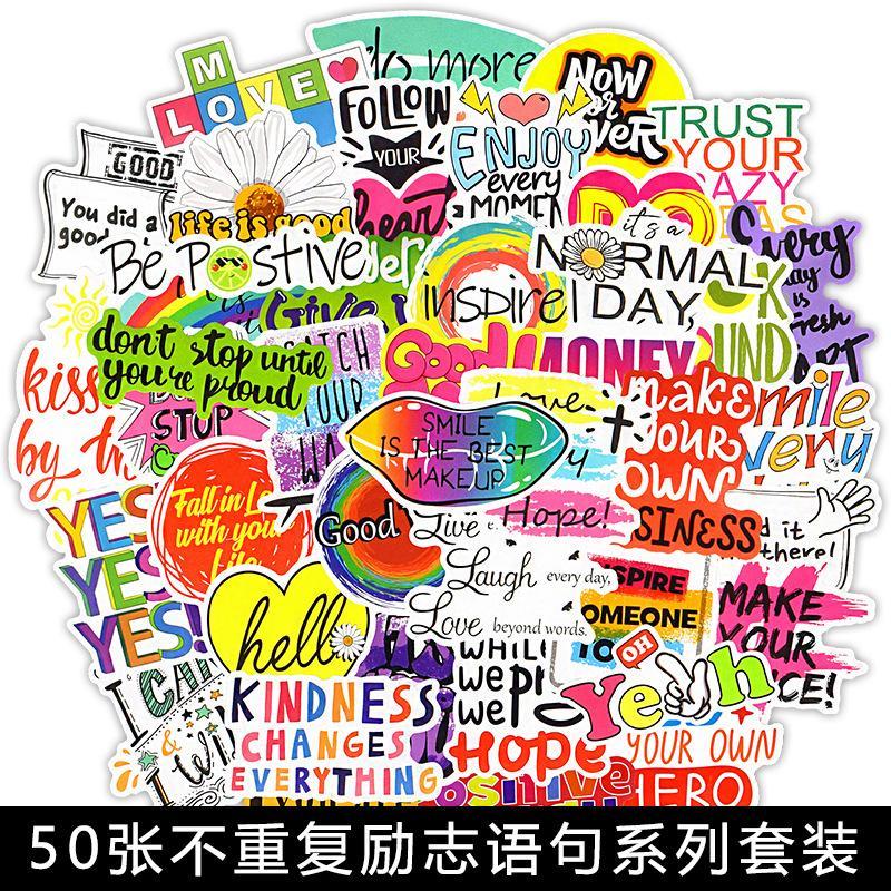50 PCS Frases Motivacionais Adesivos Citações Inspiradas Adesivo Para Crianças Caderno Artigos De Papelaria Sala de Estudo Scrapbooking Decalques 1985 V2