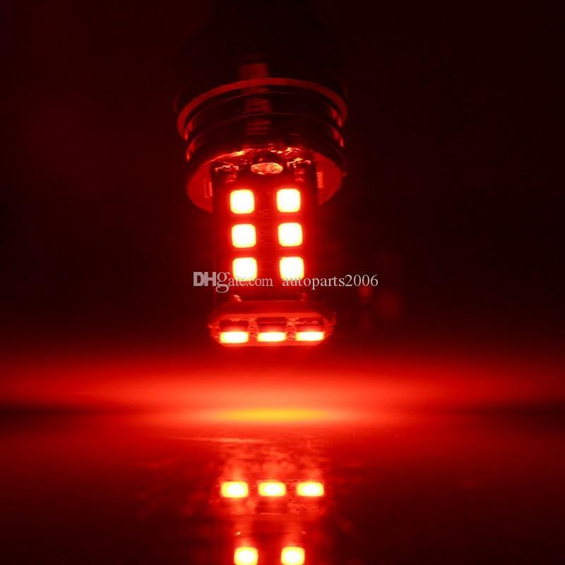 2 قطع حمراء سيارة المصابيح عالية الطاقة السوبر مشرق 1156 P21W BA15S 2835 15SMD الصمام النسخ الاحتياطي عكس الذيل الفرامل أضواء وقوف السيارات dc 12 فولت