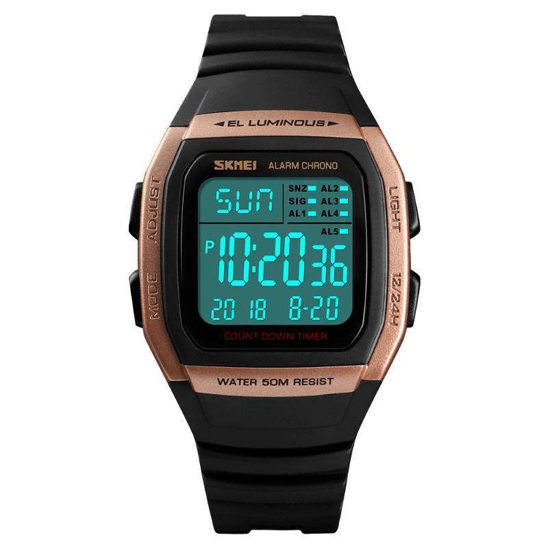 Montre-bracelet Skmei Militaire Militaire Chrono Montre Electronique Horloge 50M étanche Sport Numérique Black Man Square Square Relogio Masculino