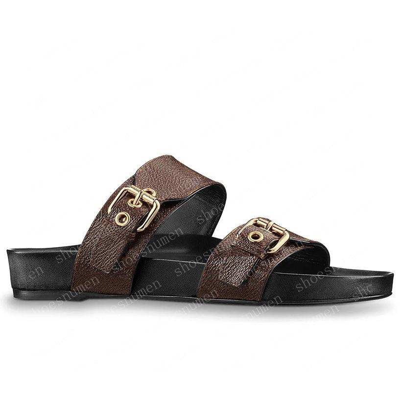 2021 Sandales Femmes Slipper Hommes Diapanne Sandale en cuir marron Femme Femme High Talons High Talons Chaussures pour hommes 36-41 avec boîte orange et sac à poussière # LWS-01