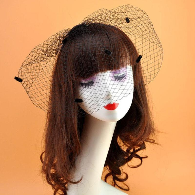 Gelin Veils Beyaz / Siyah Fildişi Net Birdcage Büyüleyici Düğün Peçe Şapkalar Cadılar Bayramı Fascinator Yüz