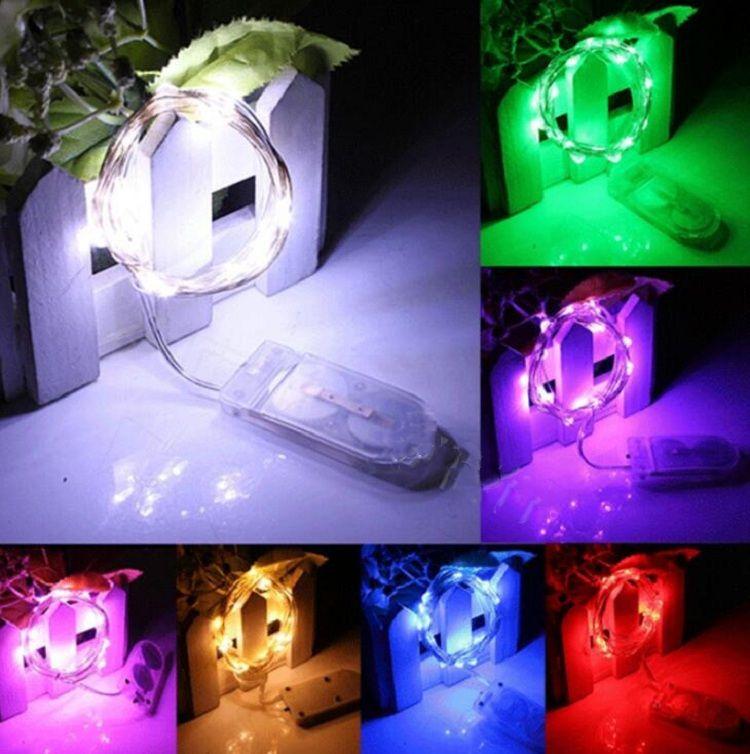 7 색 요정 조명 액세서리 배터리 작동 LED 문자열 LI GHT 슬리버 구리 와이어 문자열 LIG HTS 방수 반딧불 달 빛 웨딩 크리스마스