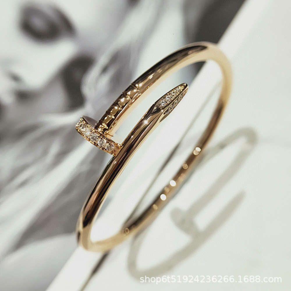 Высококачественные товары V Золотая головка второго поколения и хвостовой инкрустации с алмазным гладким ногтейлем дома Классический браслет без оригинальной коробки