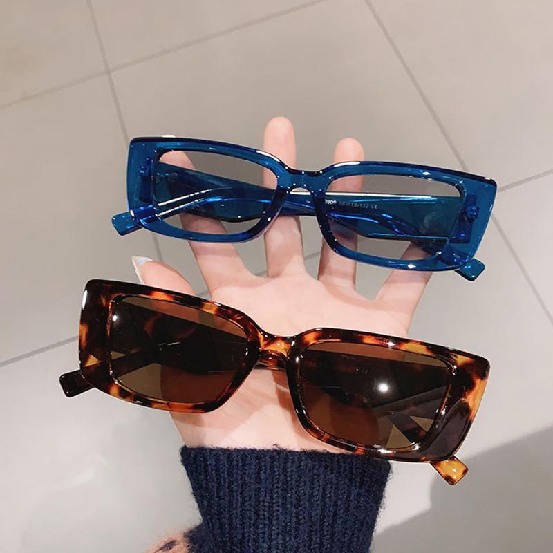اعتصامات شعبية شعبية مستطيل صغير النظارات النساء خمر ليوبارد الأزرق نظارات الرجال القط العين نظارات شاد uv400