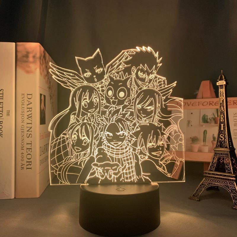 Gece Işıkları Manga Peri Kuyruk Grubu Işık LED Dokunmatik Sensör Nightlight Çocuk Odası Dekor Için Çocuk Hediye Masa 3D Lamba Anime